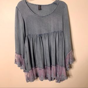 SACRED THREADS Peasant Babydoll Tunic Lace Top